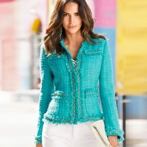 Boston Proper Aqua Parisian Eyelash Jacket 8